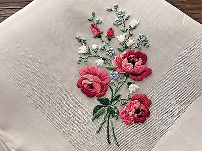 A+ Vintage Embroidered White Cotton Hankie Pink Roses Blue Forget Me Nots