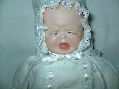 Vintage Handmade Porcelain 3 FACE DOLL Smiling Crying Sleeping Creepy Bonnet USA