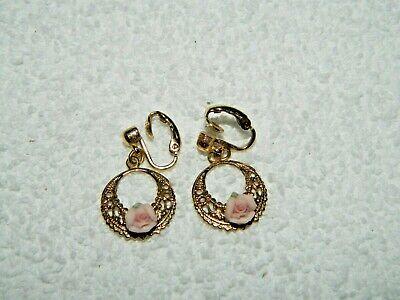 Delicate Porcelain Flower on Goldtone Dangling Ring Clip On Earrings
