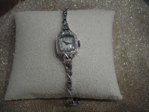 Ant/Vtg Hamilton 14K Gold & Diamond Ladies Watch on Bracelet, EUC