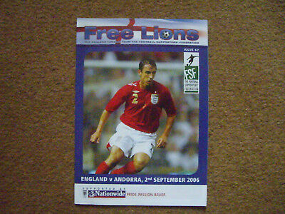 ENGLAND V ANDORRA FREE LIONS, 2/9/2006, ISSUE 62