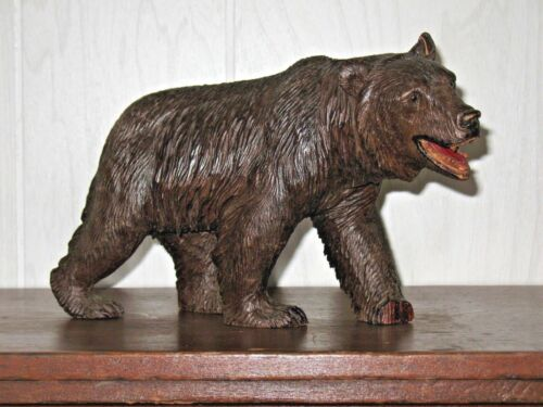 Rare Black Forest Bear Antique Carved Wood Glass Eyes ( Brienz ) Prowling