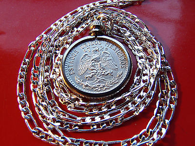 "1920-1943 MEXICO 720 SILVER PRIDE Eagle Coin Pendant on 30"" 925 Silver Chain"