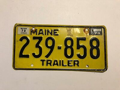 Black on Yellow Maine Trailer License Plate # 239 - 858