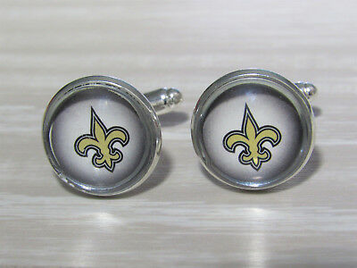 New Orleans Saints Cufflinks - New Orleans Saints Cufflinks made from Football Trading Cards Upcycled