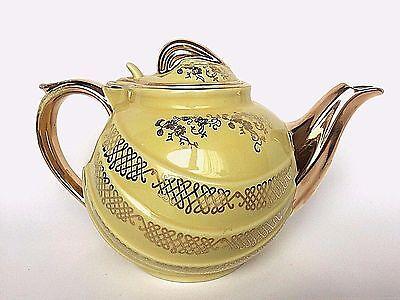 Vintage Hall Pottery Canary Yellow Gold Filigree 6 Cup Tea Pot 0799-GL USA