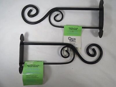 NEW 2 Black Iron Hanging Hooks Wall Brackets For Planter Bird Feeder, Hanger