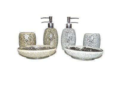 MERCURY CHAMPAGNE SILVER SPARKLES MOSAIC BATHROOM SET SOAP DISPENSER DISH  Dish Soap Gift Bag