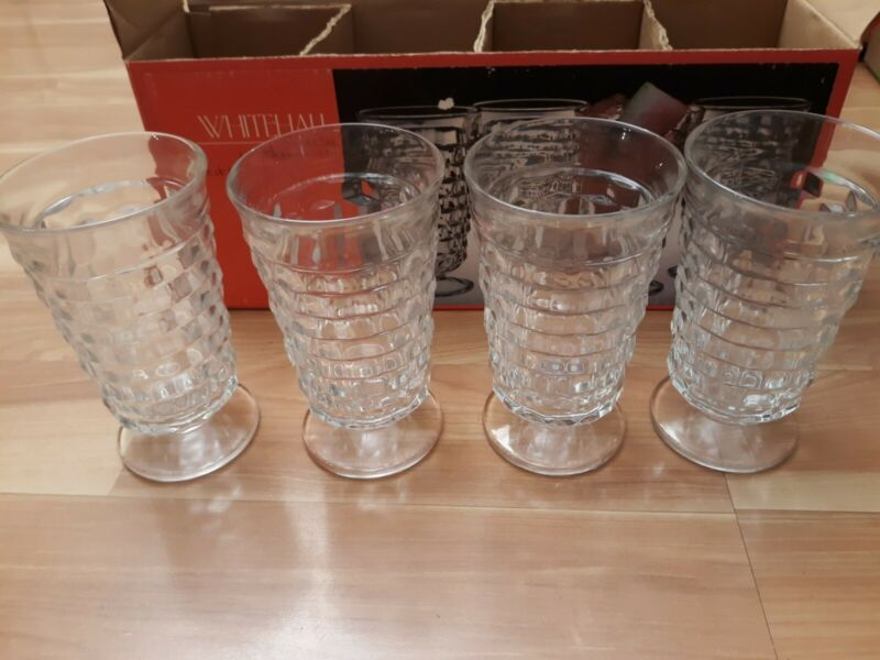 Indiana Glass...Whitehall ...4 pc 14 Oz Cooler Set...Clear...In Box