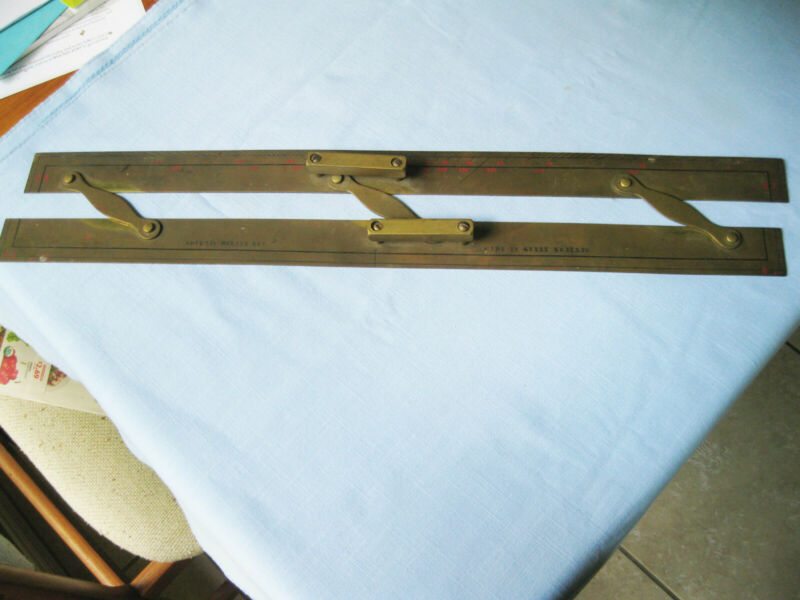 "ANTIQUE 24"" SOLID BRASS MARITIME PARALLEL RULE NAVIGATION TOOL ENGLAND SHIP"