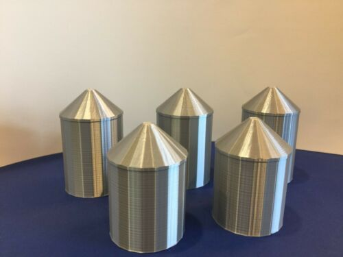 (5) GRAIN SILO (s) SET - N Scale 1:160 -  USA No Assembly Required! FARM Cluster