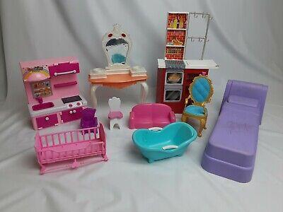 Lot of 10 doll furniture bedding dresser table bath Barbie Bratz etc girls toy