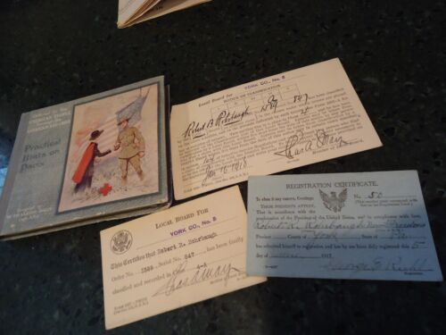 World War One , WW1 Induction Cards & American Red Cross Book for Soldiers