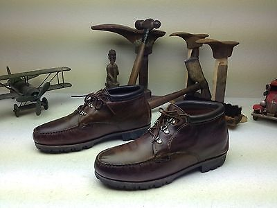 H-H-B ORIGINAL WATER MOCCASIN BROWN LEATHER DISTRESSED LACE UP CHUKKA BOOTS 12 W