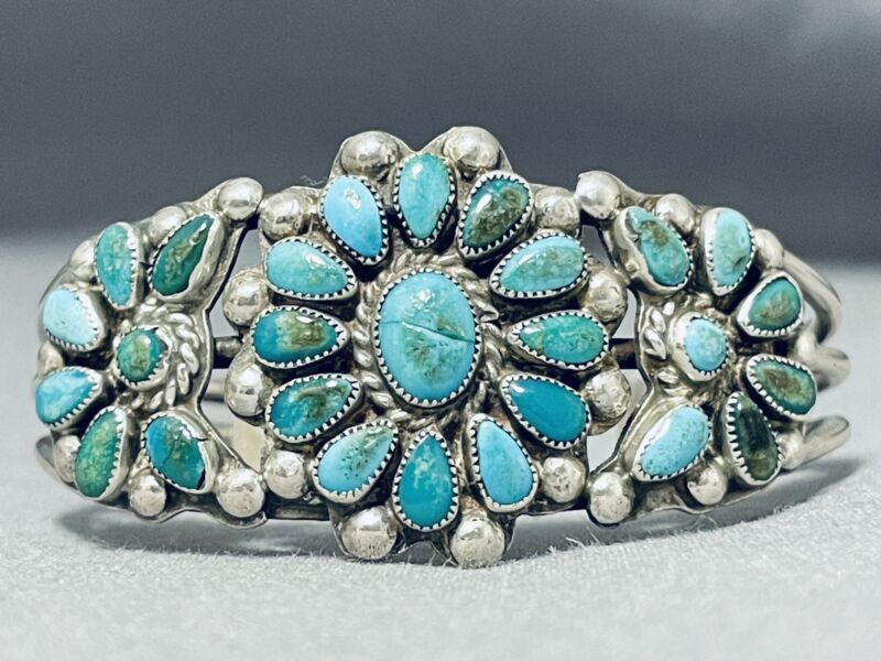 EARLY RARE VINTAGE NAVAJO TURQUOISE STERLING SILVER BRACELET CUFF