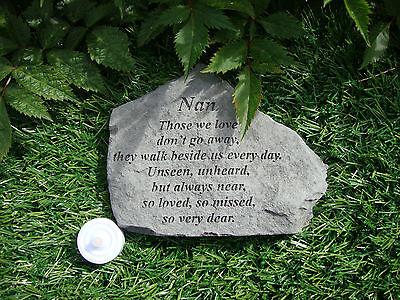 Nan Memorial Garden Stone Plaque Grave Marker Ornament churchyard those we love