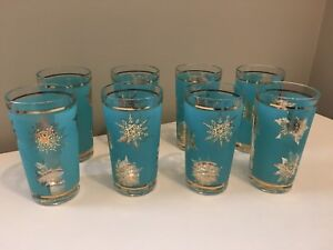 Vintage Turquoise and Gold Snowflake Glasses with Caddy