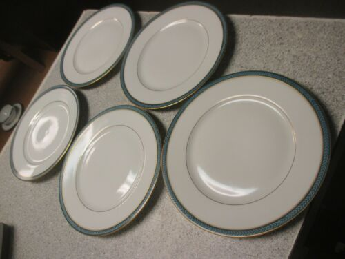 "5 VTG Limoges A Raynaud Laurier Blue dessert or salad plate? 7 5/8"" dia"