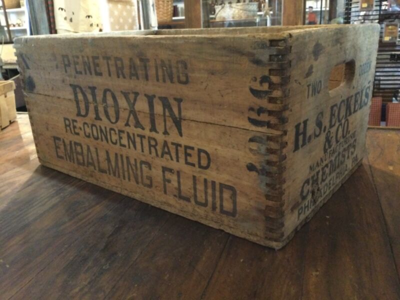 Antique Embalming Fluid Dioxin Wood Crate Funeral Mortician Collectable