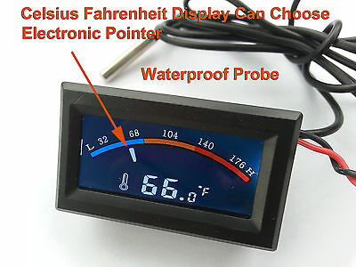 Celsius Fahrenheit Electronic Pointer C F Thermomer Panel Meter Waterproof Probe