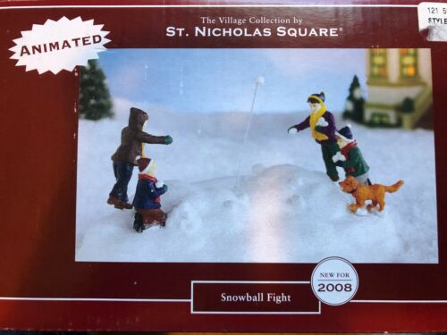 ST. NICHOLAS SQUARE VILLAGE COLLECTION 2008 ANIMATED SNOWBALL FIGHT
