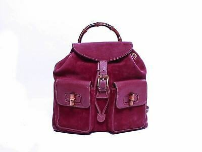 Authentic Gucci Vintage Burgundy Leather & suede Bamboo MM Backpack