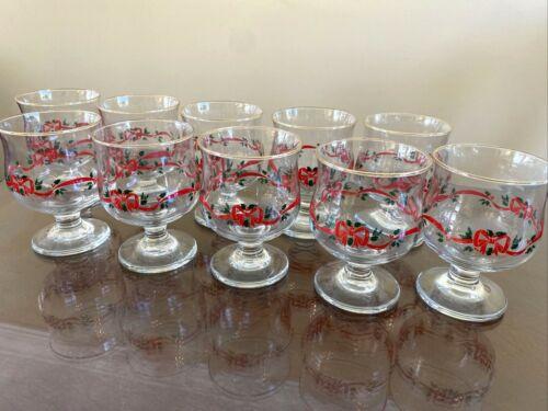 Vintage Christmas Holiday Holly Berry Ribbon Brandy Glass Goblet Libbey Gold Rim