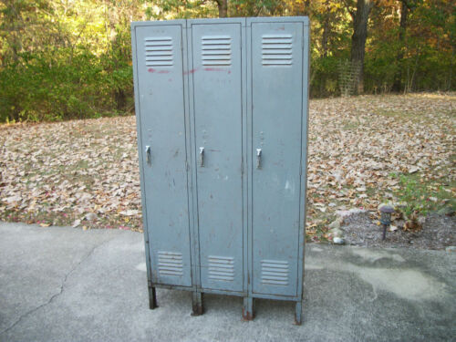 "Vintage LYON 3 Metal Locker Set ""Local Pickup Only No Shipping"""