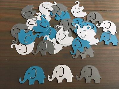 125 White, Blue And Gray Elephant Confetti, Boy Baby Shower, Elephant Confetti