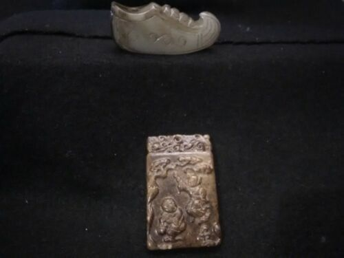 9/1B Ancient Chinese Han Dynasty Jade Shoe + Pendant