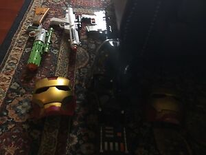 iron man masks (2) and toy blasters