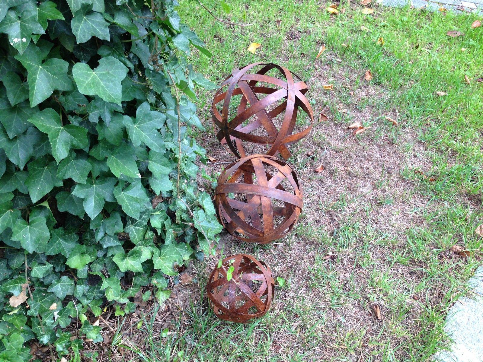 Blechstreifen kugel edelrost 20 50 cm garten deko metall for Kugel deko garten