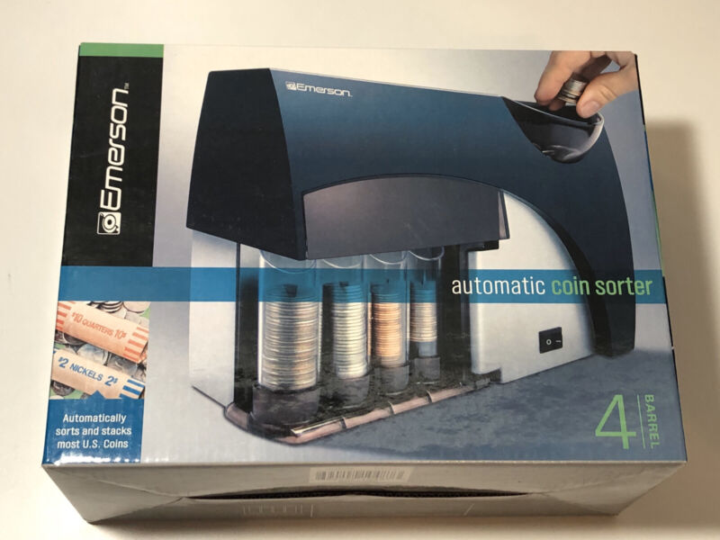 NEW!! Automatic Coin Sorter Wrapper Machine Bank Business Money Change Emerson