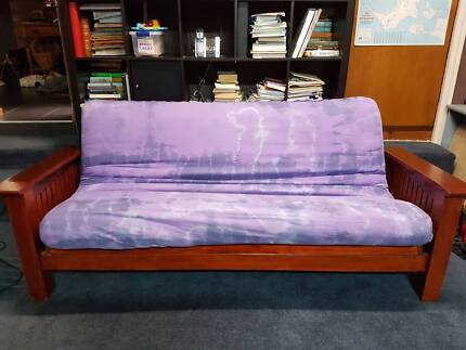 Futon Couch Bed Frame And Mattress Purple Tie Dyed Cover