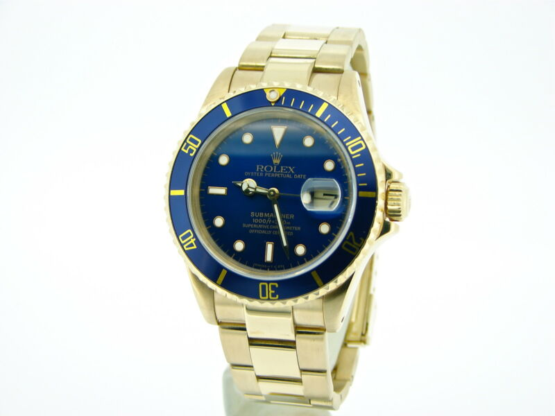 Rolex Submariner Solid 18kt 18k Yellow Gold Watch Blue Date Sub Oyster 16618