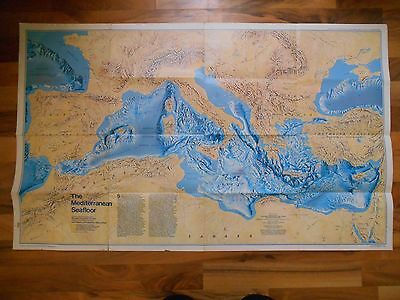 Old Vintage 1982 National Geographic The Mediterranean Seafloor Historic Map