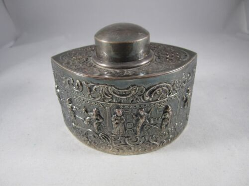 ANTIQUE ORNATE BARBOUR CO. TEA CADDY SILVER PLATE, Hallmark, Numbered, Estate