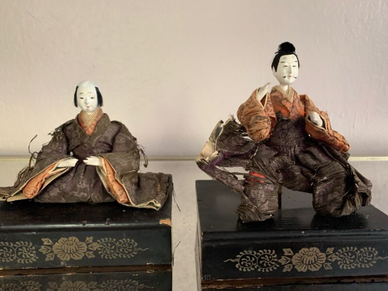 Japanese Antique Imperial Palace Doll Emperor & Empress Edo Period