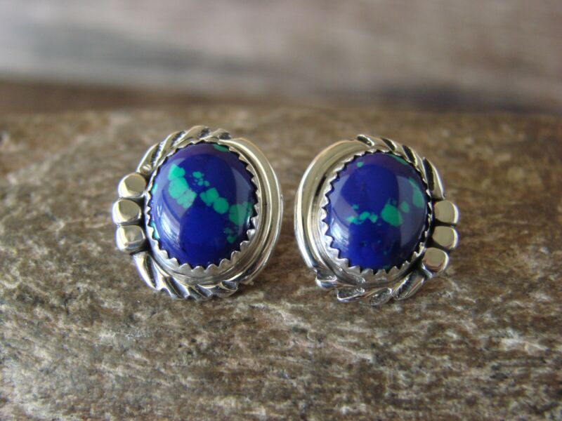 Native American Sterling Silver Azurite Post Earrings by Delores Cadman