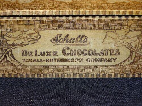 Vintage wood box pyrography flemish art Schall