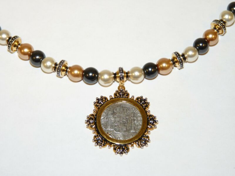FRANKLIN MINT El Cazador Beaded Necklace with Pearls & Half-Real Coin Pendant