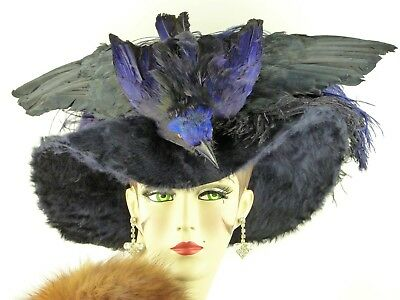 VINTAGE HAT 1910s FRENCH, BELLE ÉPOQUE, BLUE WIDE BRIM w BIRD & OSTRICH FEATHERS