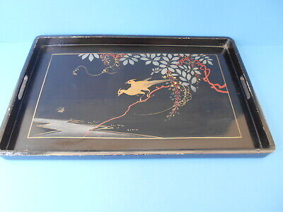 Vintage  Wooden Tray Hand Painted Black Lacquered Golden Birds.