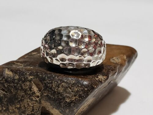 925 Sterling Silver Hammered Dome Ring Sz 5 Signed  - $49.99