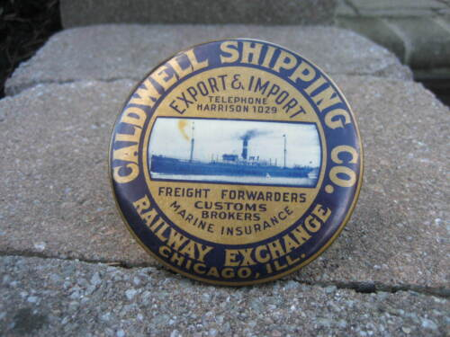 Vintage Caldwell Shipping Co. Paperweight Advertising Mirror...Railway Exchange