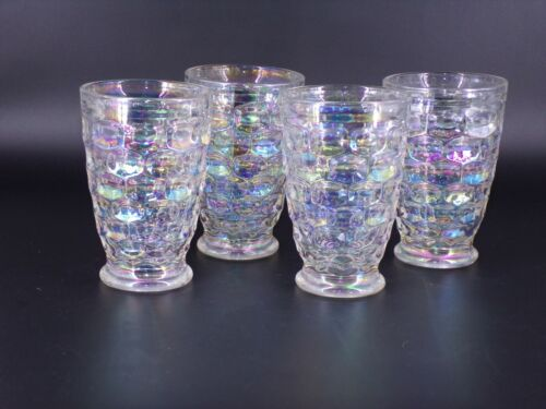"Set Of 4 Vintage Federal Glass Iridescent 4 3/4"" Glass Tumblers Thumbprint"