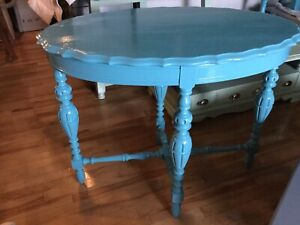 Blue accent hall table - -