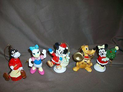 5 VINTAGE WALT DISNEY CHRISTMAS ORNAMENTS MICKEY MINNIE GOOFY PLUTO DAISY