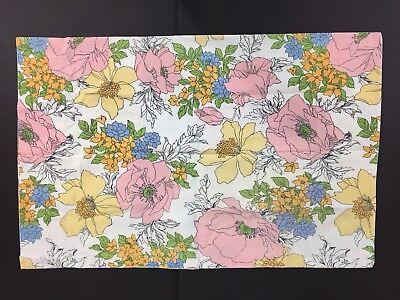 - Vintage Mod Dan River Dantrel Muslin Standard Pillowcase Floral Pink Yellow Blue