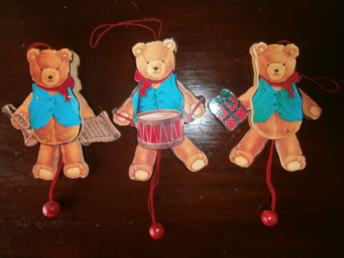 """Vintage Set of 3 Pull String Christmas Bears Wooden Puppets Ornaments 5""""Tall"""